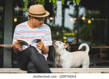 Young asian man reading book with dog.