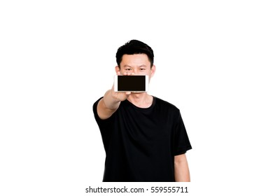 Young Asian man show display of mobile cell phone with blank screen