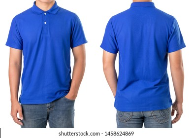 Young Asian man wear blank of blue polo t-shirt. Studio shooting and isolated on white background