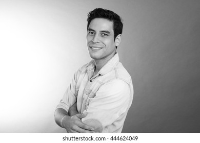 young asian men portrait in black and white