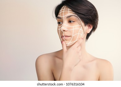 young asian model with surgery marks on her face