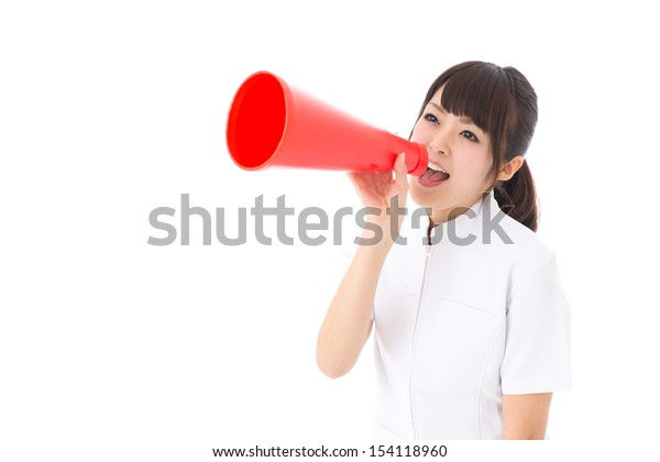 young asian nurse cheering on white background