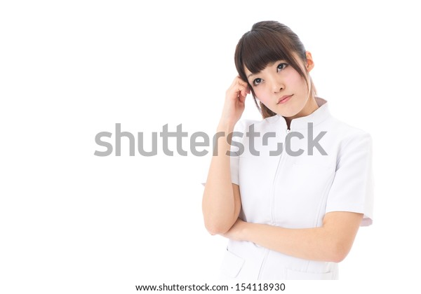 young asian nurse thinking on white background