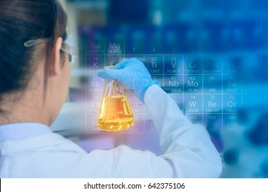 Young asian scientist with sample solution flask in hand, researching in laboratory
