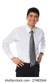 young asian smiling businessman in white shirt