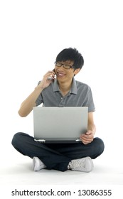 A young asian student with computer