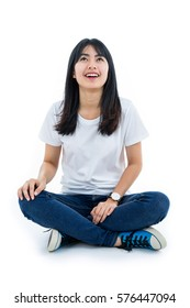 Young asian student girl. Isolated on white background.