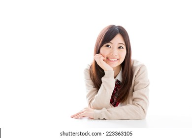 young asian student on white background