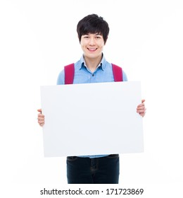 Young Asian student showing white board isolated on white background.