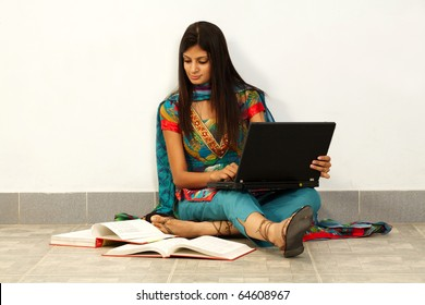 Young Asian student woman. Over white background