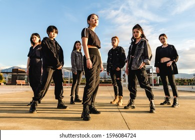 Young Asian team posing looking at camera. Chinese teenage friends - Shutterstock ID 1596084724