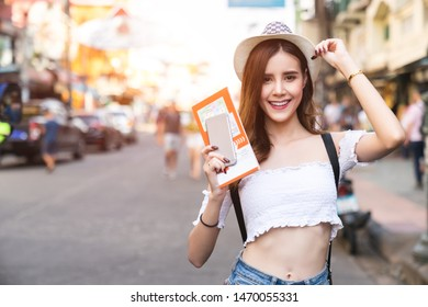 Young Asian traveling women traveling on holiday .at Bangkok Thailand, travel and tourism concept.