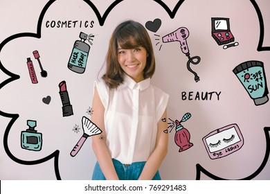 Young Asian woman after shower wearing glasses with cosmetics illustrator doodles - beauty and cosmetic concept