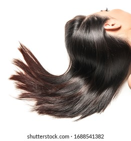 Young Asian woman with beautiful hair on white background