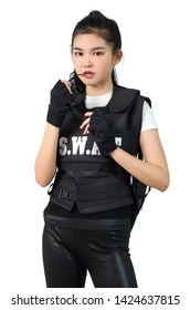 young asian woman with black clothes with bulletproof vest
