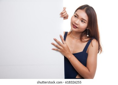 Young Asian woman with blank sign isolated on white background