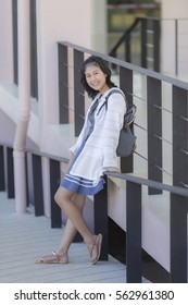 Young asian woman in buildings