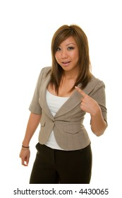 Young Asian woman in business suit pointing to herself to emphasize what she wants.