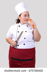 young asian woman in chef uniform white shirt and white hat