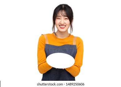 Young Asian woman cook or baker holding empty white plate or dish isolated on white background, Chef bakery female concept