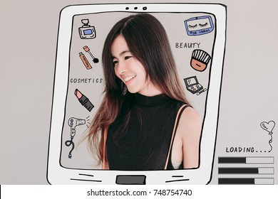 Young Asian woman with cosmetics illustrator doodles - beauty blogger and social media concept