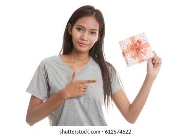 Young Asian woman with a gift box  isolated on white background.