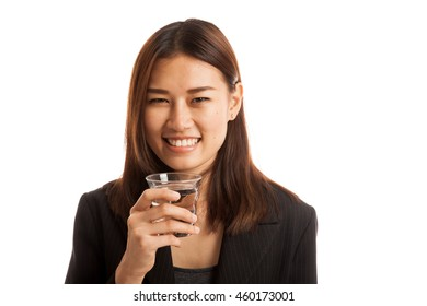 Young Asian woman with a glass of drinking water  isolated on white background.