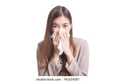 Young Asian woman got sick and flu isolated on white background