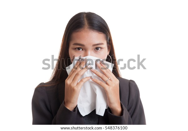 Young Asian woman got sick and flu  isolated on white background.