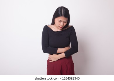 Young Asian woman got stomachache on white background