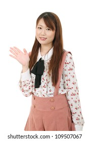 Young asian woman hand showing blank sign