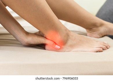 young Asian woman have a ankle pain,Healthcare Concept