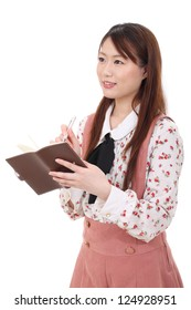 Young asian woman holding a leather notebook isolated on white background