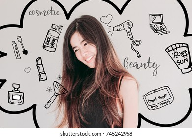 Young Asian woman with messy hair and  cosmetics illustrator doodles - beauty and cosmetic concept