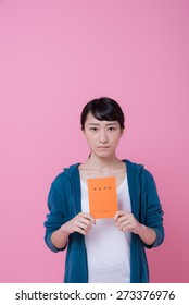 young asian woman with pension book