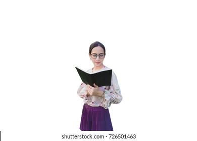 Young asian woman is reading book with isolation background