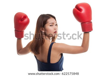 Young Asian woman with red boxing gloves isolated on white background