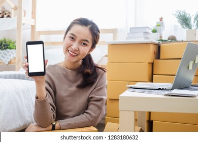 Young asian woman seller showing phone screen with space for online business, online shopping, shipping, box and package concept.