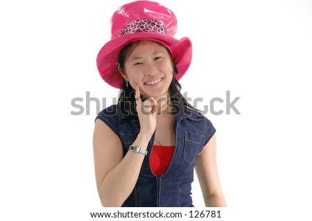 Young Asian Woman Silly Pink Hat Stock Photo (Edit Now) 126781 ... 6463a116c0b