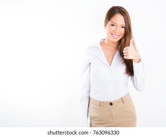 Young, asian woman in smart clothes.