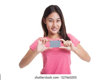 Young Asian woman smile with blank card  isolated on white background