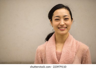 Young Asian Woman smile happy face portrait