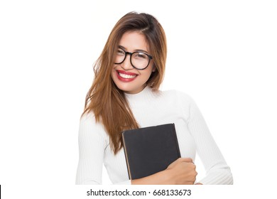 Young Asian woman with smiley face wearing glasses with hand holding book isolated on white background.