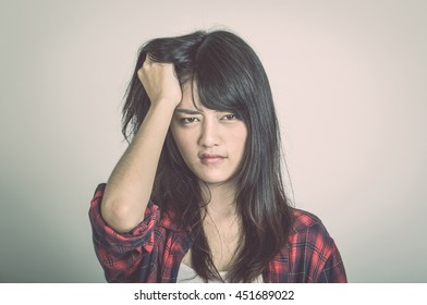Young asian woman stressed