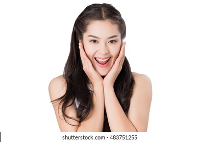 Young Asian woman with surprised excited happy screaming. Cheerful girl with funny joyful face expression.