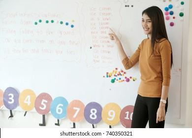 Young asian woman teacher teaching english kids in kindergarten classroom, preschool education concept