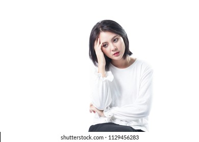 Young asian woman thinking serious hand near the face, Asian girl short hair with clipping path.
