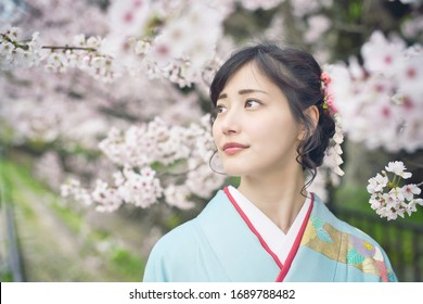 Young asian woman wearing kimono. Cherry blossoms. Japanese traditional clothes.