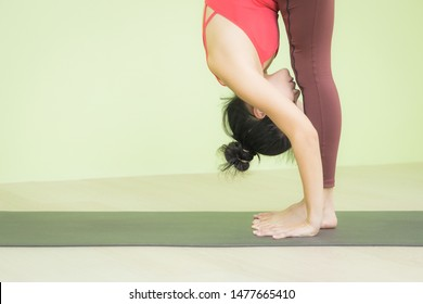 Young Asian woman wearing sportswear, red top, brown pants practicing yoga on black mat against green wall yoga studio, doing Standing forward bend pose, head to knees, Uttanasana exercise.