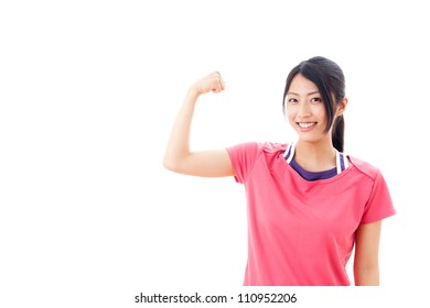 a young asian woman wearing training wear supporting on white background
